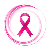 Breast cancer awareness month. Pink smooth circle background and ribbon tape