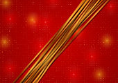 Abstract bright red luxury background with golden lines