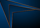 Dark blue corporate abstract background with golden lines