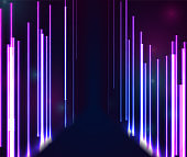 Blue purple neon laser lines abstract background