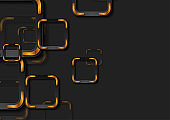 Black and bronze squares abstract geometric background