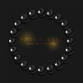 Abstract circle ring from black glossy beads modern background