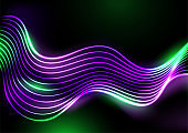 Violet and green neon glowing waves abstract background