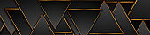 Black and bronze triangles abstract tech banner