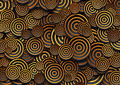 Black circles with golden rings abstract geometric background