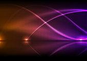 Orange purple neon waves abstract technology background
