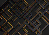 Black geometric background with abstract golden lines