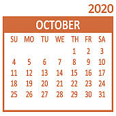 October. Tenth page of set. Calendar 2020, template. Week starts from Sunday. Vector