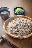 Japanese Soba noodle with green onion, wasabi