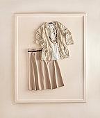 Fashionable women's clothing on white background