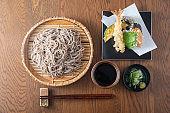 japanese traditional cold tempura soba noodle