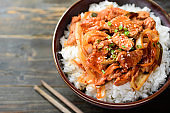 Korean food, Stir fried kimchi with pork on cooked rice