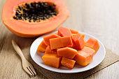 Sliced papaya fruit on plate