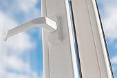 Open window handle. PVC plastic.