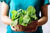Thai spinach in a basket holding by woman hand