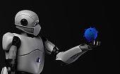 The robot studies a coronavirus with gauze mask medical,nano robot with bacterium,3d render.