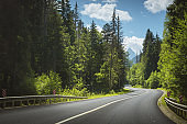 Mountain road. Road curve. Travel