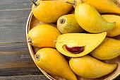 Eggfruit or canistel in a basket