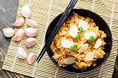 Fried rice with minced pork and garlic