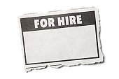 For Hire Headline on a Torn Piece of Newspaper with White Background