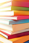 Close-up on a Stack of Colourful Books