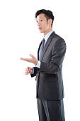 Handsome Asian Businessman in Conversation on White Background