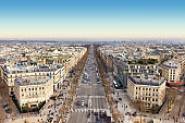 aerial view of the champs elysees avenue, Paris, France