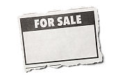 For Sale Headline on a Torn Piece of Newspaper with White Background