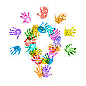 Lightbulb of Colorful Children Handprints on White Background