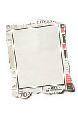 Front View Torn Piece of Newspaper on White Background