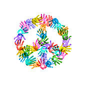 Peace Symbol of Colorful Children Handprints on White Background