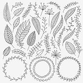 Vector hand drawn nature elements set. Leaves, berries, twigs, wreaths on black background with dots. Good for greeting cards, wedding and birthday invitation, web page decor.