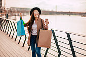 Fashion Woman Holding Shopping Bags Outdoor