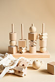 Children's wooden toys. Sequencing Blocks learning resource for educating shapes, fine motor skills, hand eye coordination, mathematical skills. Natural wood construction set. Educational equipment