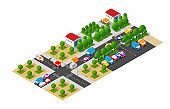 Isometric city with roads with streets