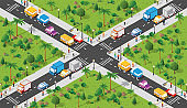 Isometric Seamless repeating walking people 3d illustration