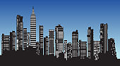 Silhouette of city structure downtown urban modern street