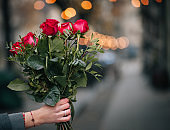 Hand Holding Red Roses Bouquet Outdoors