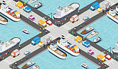 Seamless industrial city map pattern. Isometric port mooring