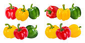 Red, green and yellow peppers  isolated.