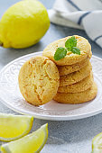 Homemade freshly baked lemon cookies with white chocolate. Dessert for gourmets. Selective focus