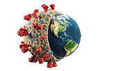 Conceptual illustration of Coronavirus Covid-19 absorbing the Earth. Worldwide pandemic