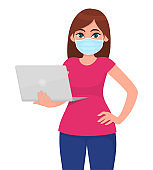Young woman in medical face mask, holding laptop computer. Girl carrying PC. Female character design. Modern technology lifestyle. Corona virus epidemic outbreak. Cartoon illustration in vector style.