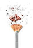 Make-up brush and crushed face powder