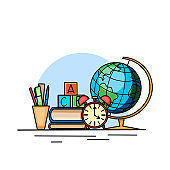 Back to school. Contour illustration of books, globe, watches and office supplies. Study table for the student. Classes and studies. Vector element
