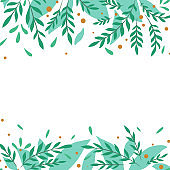 Square card with flat foliage and berries. Turquoise branches with foliage. Greeting card with place for text. Delicate vector template