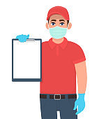 Delivery person or courier in mask and gloves showing blank clipboard. Man holding note pad. Male character design. Corona virus epidemic outbreak. Safety shopping service during quarantine. Vector