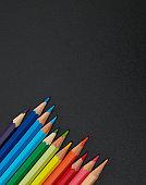 Pencils on blackboard