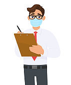 Young business man in medical mask writing on clipboard. Person holding notepad or document. Male character with eyeglasses. Corona virus epidemic outbreak. Cartoon illustration in vector design.