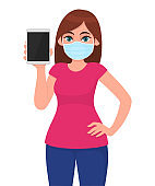 Young girl in medical face mask showing tablet computer. Woman holding digital gadget or pad. Female character. Corona virus epidemic outbreak. Modern technology. Cartoon illustration in vector design